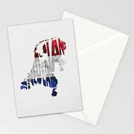 The Netherlands / Nederland Typographic Flag Map Art Stationery Cards