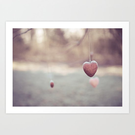 Frosted Hearts Art Print