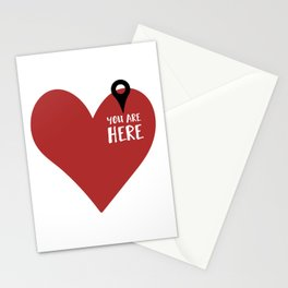 YOU ARE HERE (IN MY HEART) - Love Valentines Day quote Stationery Cards