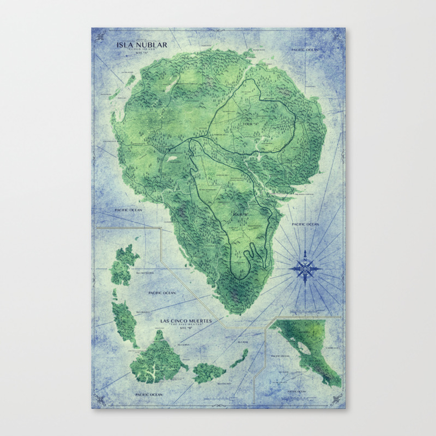 Picture of: Jurassic Park Map Colour Canvas Print By Fabledcreative Society6