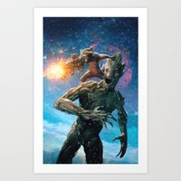 guardians of the galaxy Art Prints featuring Guardians of the Galaxy by crayonide