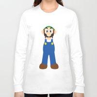 luigi Long Sleeve T-shirts featuring Luigi - Minimalist - Nintendo by Adrian Mentus
