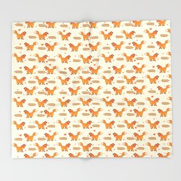 Red Fox & Hearts Pattern Throw Blanket