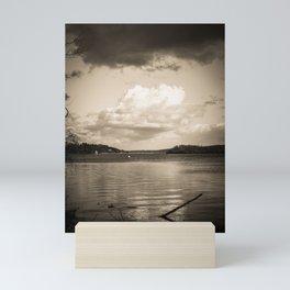 Cloudy Möhne Reservoir Lake sepia Mini Art Print