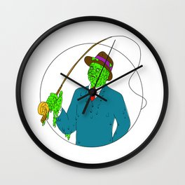 Mobster Fisherman Fly Rod Reel Grime Art Wall Clock