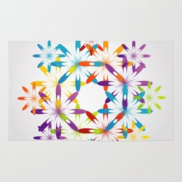 A large Colorful Christmas snowflake pattern- holiday season gifts- Happy new year gifts Rug