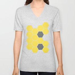 Yellow Honeycomb Unisex V-Neck