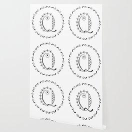 Q - decorative monogram. Wallpaper