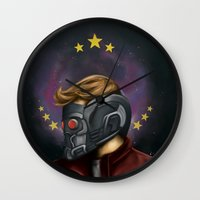 star lord Wall Clocks featuring My little Star-Lord by toibi