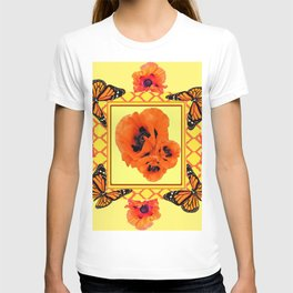 WESTERN ORANGE POPPIES & BUTTERFLIES  YELLOW ART DESIGN T-shirt