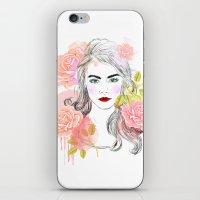 cara delevingne iPhone & iPod Skins featuring Cara Delevingne by Sara Eshak