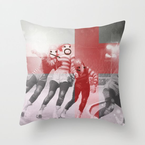 Punchtuation Roller Derby Throw Pillow