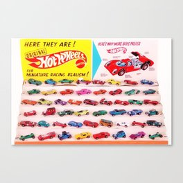 1970's Original Hot Wheels Redline Toy Department Store Display Poster Canvas Print