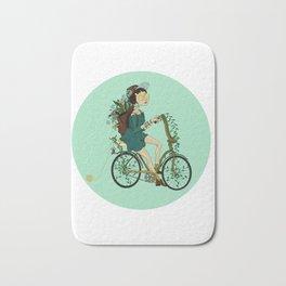 Girl with bicycle Pegas Bath Mat