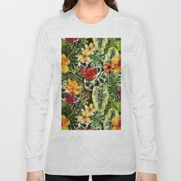 Tropical Vintage Exotic Jungle Flower Flowers - Floral watercolor pattern Long Sleeve T-shirt