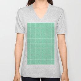 Graph Paper (White & Mint Pattern) Unisex V-Neck