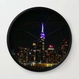 Manhattan by night NYC pixels Wall Clock