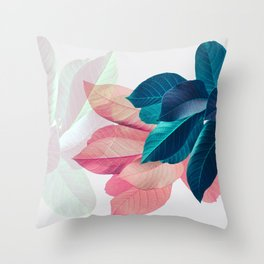 Pink and Blue Leaf Throw Pillow