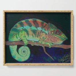 Rainbow chameleon lizard by Katy Christoff Serving Tray