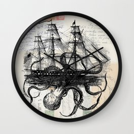 Octopus Kraken Attacking Ship on Old Postcards Wall Clock
