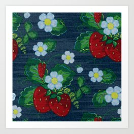 Strawberries and Daisies - Strawberry Patch  - Fruit Art Print