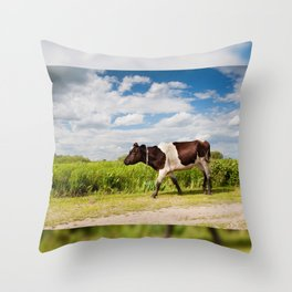 Calf walking in natural landscape Throw Pillow