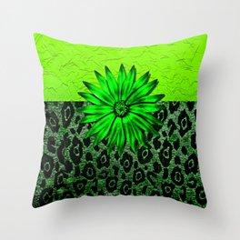 Animal Print Green Medallion Abstract Throw Pillow