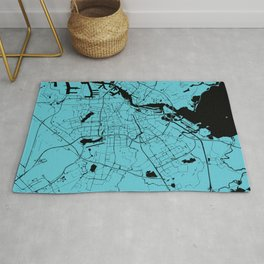Amsterdam Turquoise on Black Street Map Rug