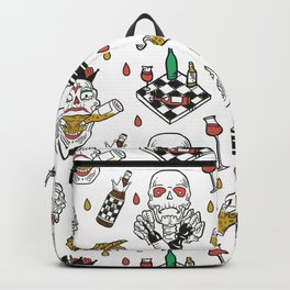 Chess-skeleton pattern with vine and beer bottles Backpack