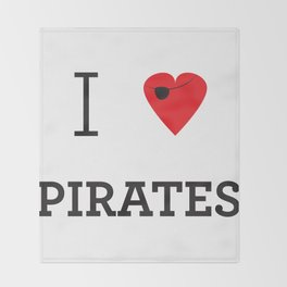 I heart Pirates Throw Blanket