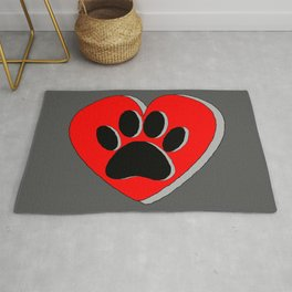 Dog Paw Red Heart Drawing Rug
