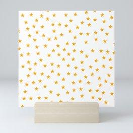 Orange stars seamless pattern Mini Art Print