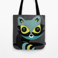 raccoon Tote Bags featuring Raccoon by Maria Jose Da Luz