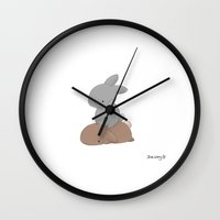 pee wee Wall Clocks featuring Wee by Jess Wong