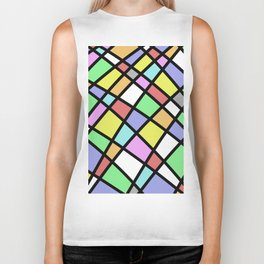 Crazy Pastel Paving - Abstract, pastel coloured mosaic paved pattern Biker Tank