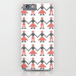 Romanian Hora people cross-stitch pattern white iPhone Case