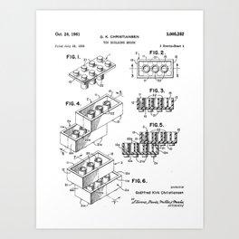 Legos Patent - Legos Brick Art - Black And White Art Print