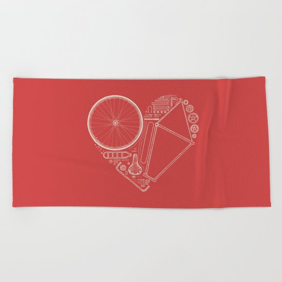 Love Bike (On Red) Beach Towel