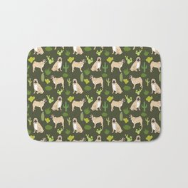 Pug Cactus succulent southwest cute children fur baby pug dog art pet portrait funny animals Bath Mat