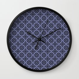 Orchid and Black Damask Pattern Wall Clock