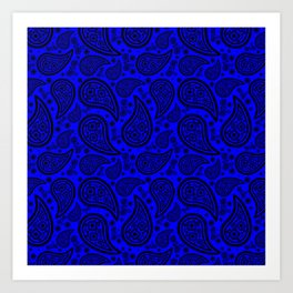Paisley (Black & Blue Pattern) Art Print
