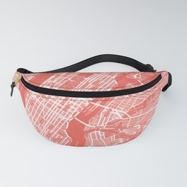 Living Coral Blush Pink Mantel Decor showing Manhattan New York City. Minimalist Layered Artwork Fanny Pack