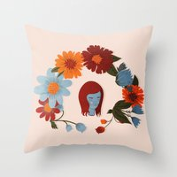 redhead Throw Pillows featuring Redhead by olivia mew