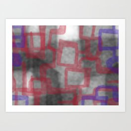 abstract red blue grey Art Print