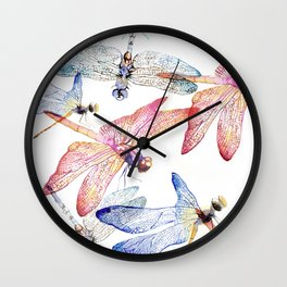 Dragonfly Pack Pink and Blue Wall Clock
