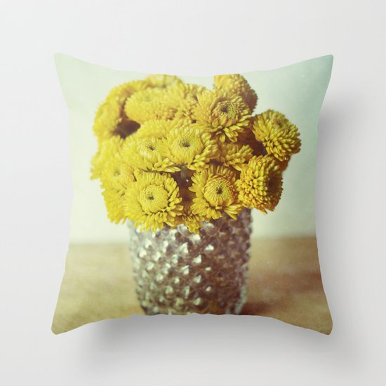 yellow makes me happy Throw Pillow