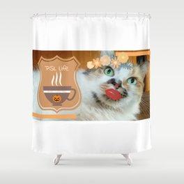PSL Life Cat Basic Pumpkin Spice Latte Kitty Shower Curtain