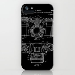 Vintage Camera Patent Black Blueprint iPhone Case