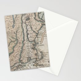 Vintage Map of The New England Coast (1747) Stationery Cards