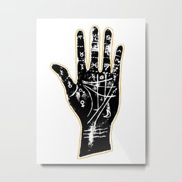 Black palmistry hand Metal Print